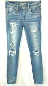 American Eagle Blue Denim Jeans Sz. 6 Reg Jegging Distressed Holes Super Stretch