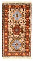 """Hand-knotted Carpet 2'1"""" x 4'0"""" Royal Kazak Tan Wool Rug"""