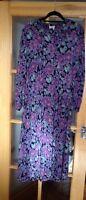 LAURA ASHLEY VINTAGE FLORAL TEA PARTY LONG DAY DRESS UK 12 1980's VGC Collar