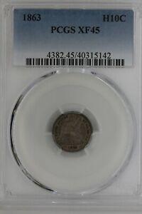 1863  .05  PCGS  XF 45  1800's Half Dime, Seated Liberty Half Dime, 5 cent