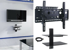 """New TV Wall Mount with Double Glass Shelf Unit Supports Screen Sizes 30"""" to 85"""""""