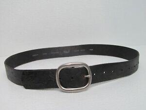 Fossil BT3569 001 Black Tooled Leather Belt  Floral Embossed Size Women's L