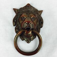 English Vintage Victorian Brass Door Knocker Lion Head Cherry Period DoorKnocker