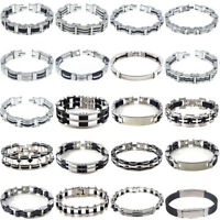 Mens Women's New Stainless Steel Rubber Wristband Bangle Clasp Cuff Bracelet lot