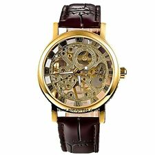 GuTe Dress Golden Skeleton Mechanical Hand-wind Wristwatch Unisex Dark Brown PU