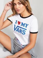 BNWT Vans Love Short Sleeve Ringer T-Shirt - White XS UK 6 8 RRP £25