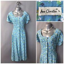 Ann Christine Blue Floral Retro Dress Large Elasticated Waist