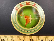 1930s F.A.M.A. FLOTA AEREA MERCANTE ARGENTINA Luggage Label Sticker Travel