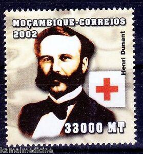 Henry Dunant, Nobel Peace winner, Red Cross, Mozambique 2002 MNH