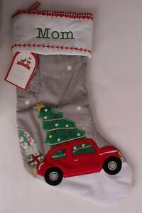 """Pottery Barn Kids classic quilted stocking Christmas, Gray, car with gift, """"Mom"""""""