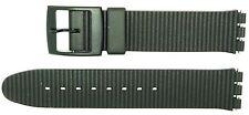 Nuevo 17mm (20mm) Correa de Reemplazo de diseño con forma de cresta tamaño para caber Reloj Swatch ® Negro