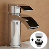 Chrome Tap Bathroom Square Brass Mono Sink Single Mixer Solid Modern Basin Waste