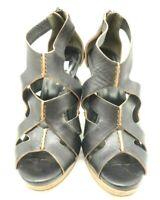Cole Haan Air Black Leather Zip Up Peep Toe Block Wedge Heel Shoes Women's 5 B