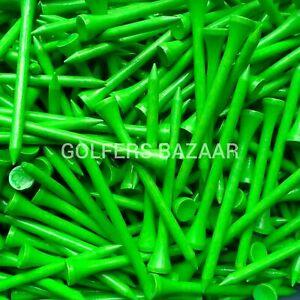 70mm   WOODEN GOLF TEES  NEON GREEN - FREE U.K.P&P