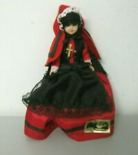 """Vintage Poupees Yolande Celluloid 9"""" Doll Red and Black Outfit  Made In France"""