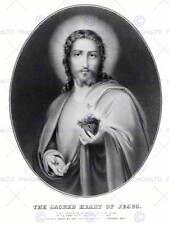 La PITTURA allegoria Ritratto messaggio Gesù Sacro Cuore Poster Art Print bb12100b