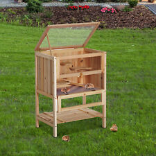Pawhut Hamster Cage Fir Wooden Mouse Exercise House Pet Play Small Animals Solid