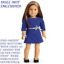 """AUTHENTIC AMERICAN GIRL 2017 RHINESTONE STUDDED DRESS + SHOES FOR 18"""" DOLL (645)"""