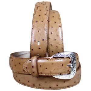 26 X 1 3/8 Inch Tony Lama Men'S Tan Ostrich Print Leather Dress Belt U-L-26