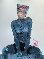 """Original Abstract Catwoman Seated Palette Knife Painting Comic Wall Art 14"""""""