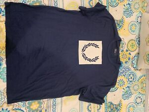 BNWOT Fred Perry T-Shirt Laurel Wreath Navy Blue Size XL