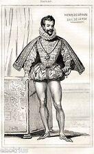 Duca Enrico II di Guisa.Rivoluzione Masaniello.Stampa Antica + Passepartout 1838