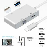 4 in 1 USB 3.1 Type-C USB C to HDMI VGA DVI USB 3.0 Adapter Cable for Macbook AU