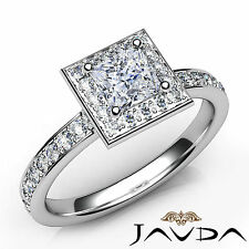 Halo Princess Diamond Pave Engagement Ring GIA E Color VS1 18k White Gold 0.95Ct