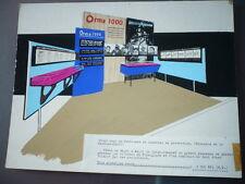 DESSIN ARCHITECTURE D'INTERIEUR VINTAGE 1960  GOUACHE stand  ORMA 1000