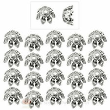 20 Piece Antique Silver Plated 9mm Flower Fancy Petal Bead Caps Jewelry Necklace