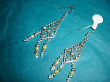 Green pearls and crystal filagree earrings