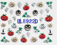 Halloween Gold Silver Black Red Glitter Pumpkin Cross 3D Nail Art Sticker Decals