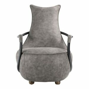 """27"""" W Vanessa Club Chair Tapered Back Iron Arms Grey Velvet Modern Industrial"""