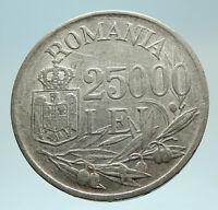 1946 ROMANIA King Michael I Shield Antique Genuine Silver Romanian Coin i76774