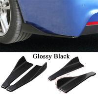 2 Pcs Universal Car Bumper Spoiler Rear Lip Angle Splitter Diffuser Glossy Black