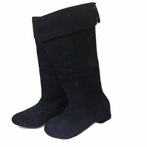 NEW WOMENS LADIES LOW HEEL MID CALF PIXIE  RIDING LONG SUEDE BOOTS SIZE FB-491 L
