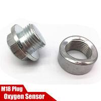 M18 x 1.5mm O2 Oxygen Sensor Bung Port Boss Nut + Zinc plated Plug