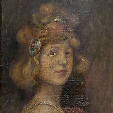 Olio tavola cm 16 x 22   Ritratto Femminile