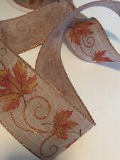 "Burlap w/ Autumn Leaves Wire Edged Ribbon 2-1/2"" x 5 Yards"