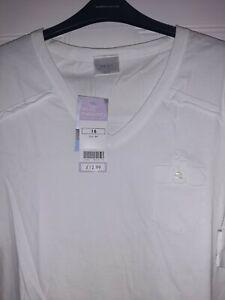 Next Ladies Maternity T Shirt.  White.  Size 16.  Raw edge finish.  Brand new