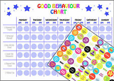 REUSABLE Boys Good Behaviour Reward Chart including 88 Stickers and A4 Chart