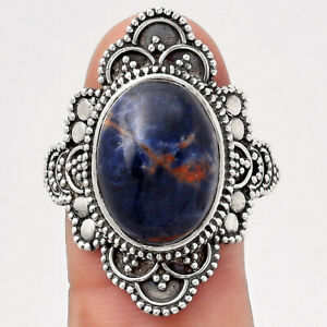 Natural Orange Sodalite 925 Sterling Silver Ring s.9.5 Jewelry 7934