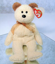 NEW Ty Beanie Babies HUGGY TEDDY BEAR With TAG ERRORS 2000 Millennium Ivory Gold