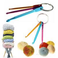 3PCS Aluminum Crochet Hooks On Keychain/Keyring Knitting Needles Weaving Craft