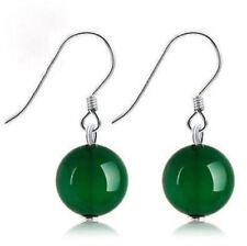 New Fashion 10mm Green Jade Round Beads Silver Dangle Hook Earrings