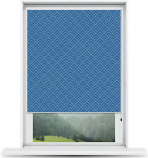 ArtToFrames Custom Window Shade - Blackout Peaks Modern Navy Design Reversed Rol