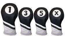 Majek Golf Headcover Black & White Leather Style 1 3 5 X Driver and Wood Covers