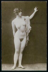 French full nude woman posing girl original c1910-1920s old RPPC photo postcard