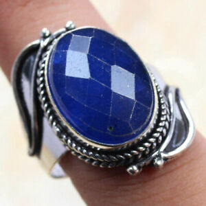 Sapphire 925 Silver Plated Handmade Gemstone Ring of US Size 8 Ethnic Gift