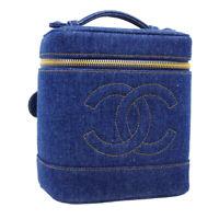 CHANEL CC Cosmetic Vanity Hand Bag 4763161 Purse Indigo Denim Vintage NR15793